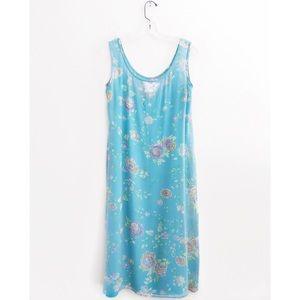 MaxMara Dresses - Max Mara Cyan Blue Floral Silk Shift Midi Dress 6